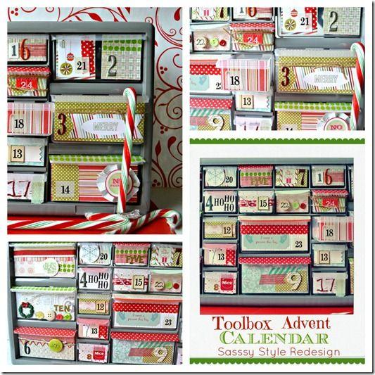 24 slot toolbox with scrapbook paper Advent calendar