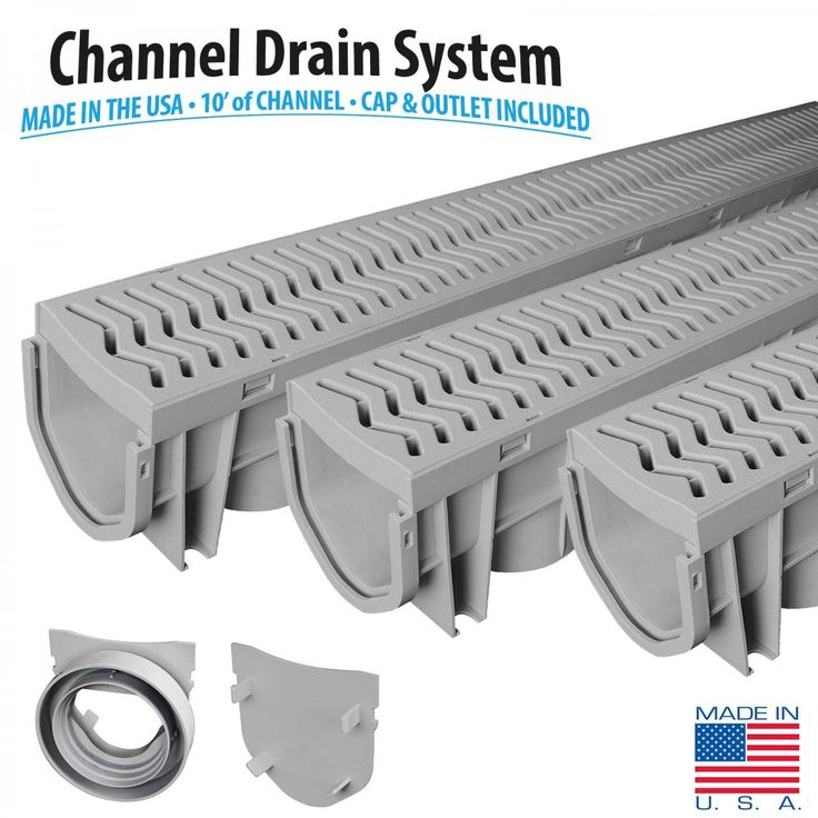 Source 1 Drainage S1E-PLCD-3PK 3-Pack Trench & Driveway Channel Drain System with Grates  – Channel and Trench Drains – Landscape & Drainage - GreyDock.com