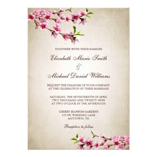 Pink Cherry Blossoms Vintage Tan Wedding Custom Announcement  Click on photo to purchase. Check out all current coupon offers and save! http://www.zazzle.com/coupons?rf=238785193994622463&tc=pin