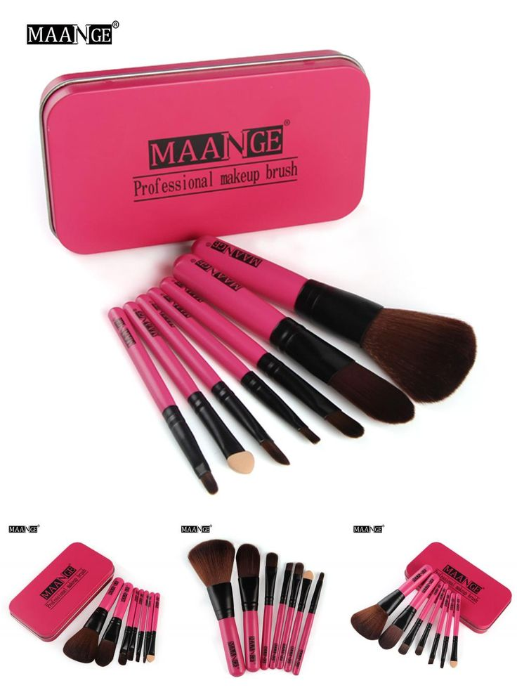 [Visit to Buy] 7PCS Newest Pink Makeup Brush Set Mini Size Professional Cosmetics Make Up Brushes Set For MAC With Metal Box make up brush Kit  #Advertisement