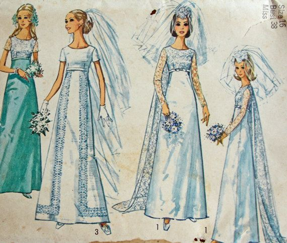 1970 S Wedding Dress Pattern Uncut Size 16 Bust 38 Simplicity 8737 Empire Waist Train Renaissance Costume