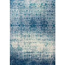 Antika Cream and Blue Distressed Classic Floor Cloth Medium Rug