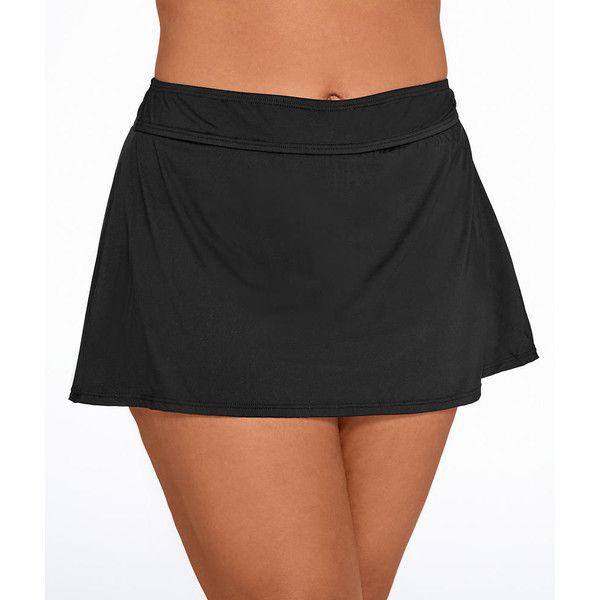 Anne Cole Signature Solid Skirted Bikini Bottom Plus Size (£32) ❤ liked on Polyvore featuring swimwear, bikinis, bikini bottoms, swim bottom, women, womens plus swimwear, anne cole swim wear, plus size swimwear, plus size beachwear and plus size bikini