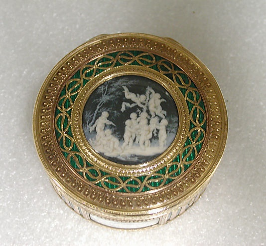 SNUFFBOX WITH SCENES OF PUTTI AT PLAY by Pierre François Drais circa 1770-71 Paris. Miniatures by Jacques Joseph de Gault. Gold, enamel, glass, Grisaille en oamaieu on ivory at The Met