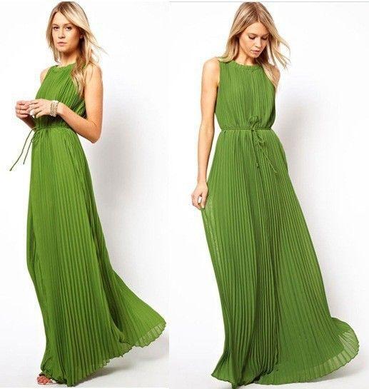 Goedkope S XL Groene jurken vrouwen Effen Strand jurk Plus size Lange Bohemian jurk merk Chiffon jurken vrouwen Geplooide kleding WM055, koop Kwaliteit jurken rechtstreeks van Leveranciers van China: