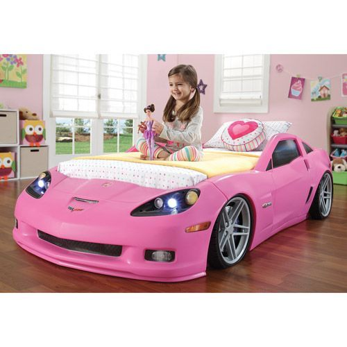 Step2 Corvette Convertible Toddler To Twin Bed With Lights Pink Walmart