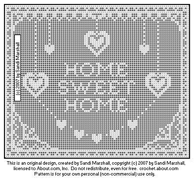Printing Page For Chart of Home Sweet Home With Hearts and Lace Border Design - Free Crochet Pattern