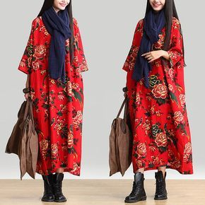 Round Neck Loose Fitting Long Maxi Dress - Dress (R) Long Sleeved Linen and Cotton Dress for Women