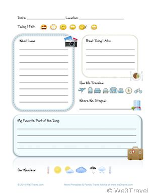 Want to keep your kids busy during vacation downtime while creating invaluable keepsakes from your trip? This DIY kid travel journal is perfect for beginning travel journaling. Download this Kid Travel Journal Printable Interior Page at We3Travel.com.