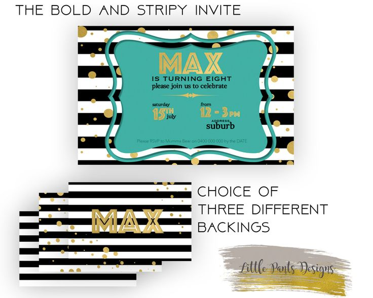 Birthday Invite BOLD BLACK and WHITE Series. Digital Invite Invitation for Birthday Stripe, Teal and Gold confetti by LittlePantsDesigns on Etsy https://www.etsy.com/listing/453402736/birthday-invite-bold-black-and-white