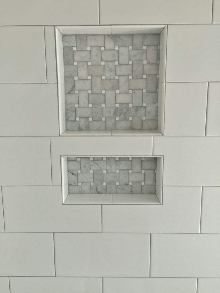 6x12 White Porcelain Tile With Stone Basketweave Accent In Niche Tile Jobs Weve Done In And