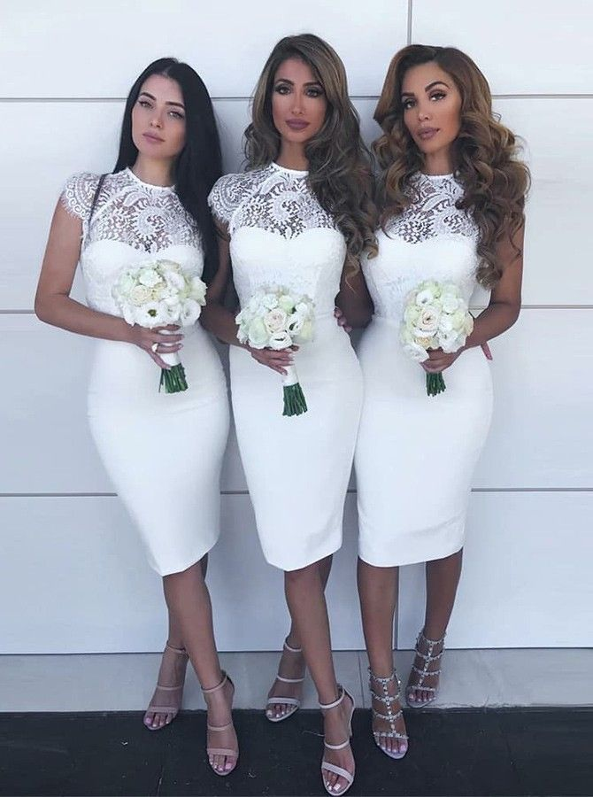 Tight White Semi Formal Dresses For Special Occasion Fashion Bridesmaid Dresses White Lace Bridesmaid White Bridesmaid Dresses Cheap Bridesmaid Dresses Online