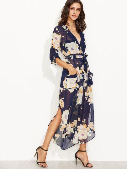 Navy Floral Print Self Tie Wrap Chiffon Dress