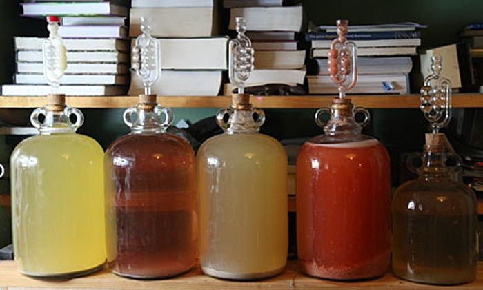 Demi-johns of homemade wine