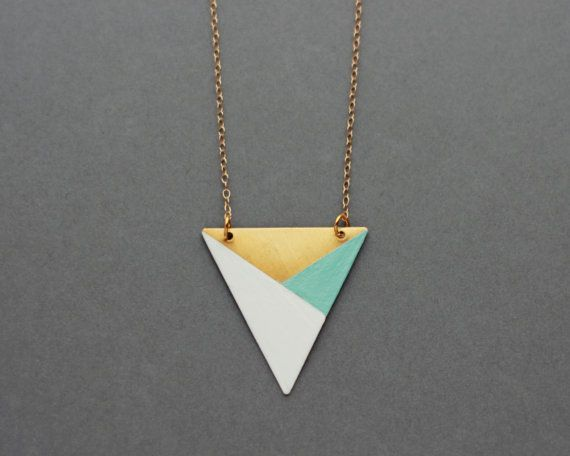 Metal Triangle Necklace Blue  White  Bronze  Modern by FawnAndRose, £16.00