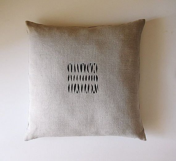 $42 - Natural unbleached linen pillow cover with hand painted black & silver minimalist detail.    BOTH SIDES of the pillow are painted. Pillow cover has