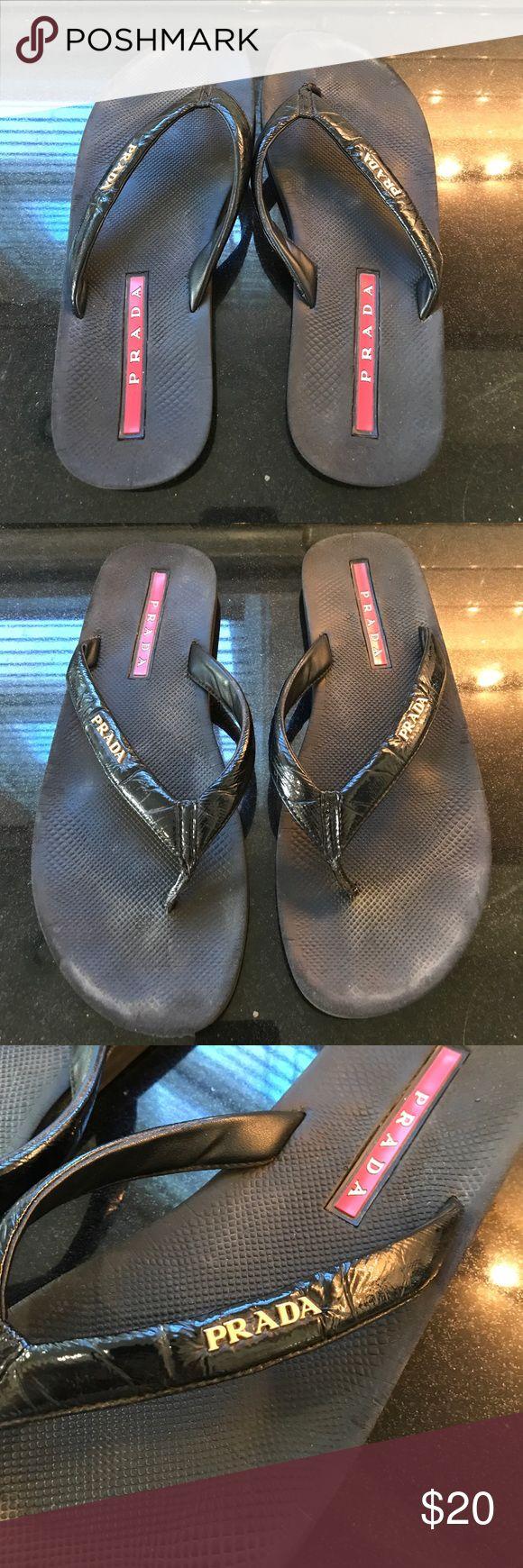 Worn Prada Flip Flops size 39.5 A worn pair of Prada Flip Flops size 39.5 Prada Shoes Sandals