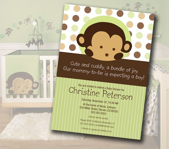 monkey themed baby shower | Monkey Baby Shower Invitation Matches Mod Pod Pop Monkey Nursery ...