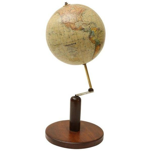 Continental World Globe on Walnut Stand ($995) ❤ liked on Polyvore featuring home, home decor, desk sets and european home decor