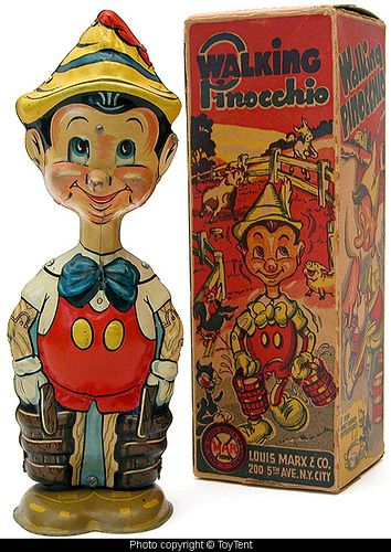 *WALKING PINOCCHIO ~ W/ moving eyes. Tin wind up toy by: Louis Marx + Co. for Walt Disney Enterprises, c.1939.