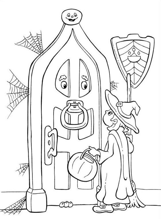 little witch halloween coloring pages - Halloween Pitchers