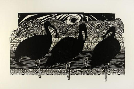 The Three Ibis is an linocut by Ian Philips . I really like the detailed background with silhouetted birds, this really makes them stand out and creates contrast. Looking at his work I can see different patterns that are repetitive that have texture and forms of lines. His linocut is in a really good perspective and proportion that makes this look almost like a an photographed image.