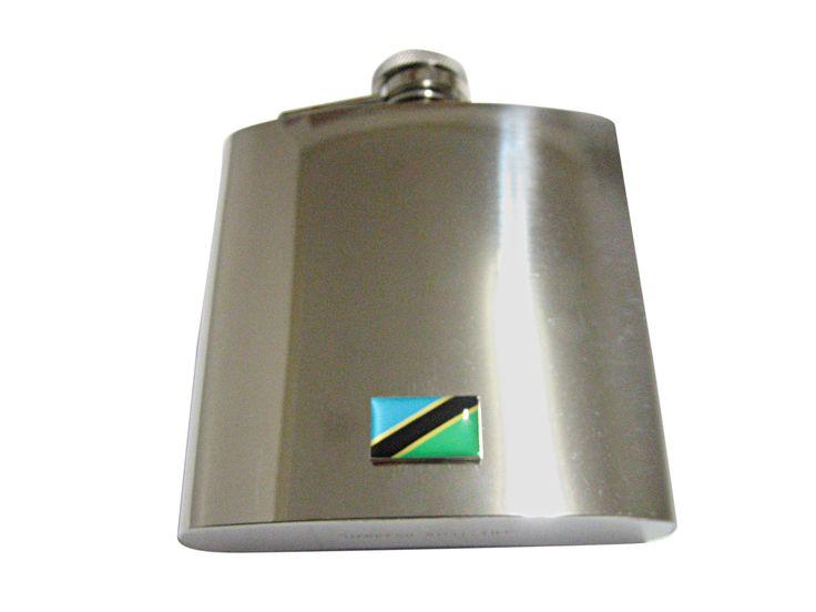 Tanzania Flag Pendant 6 Oz. Stainless Steel Flask