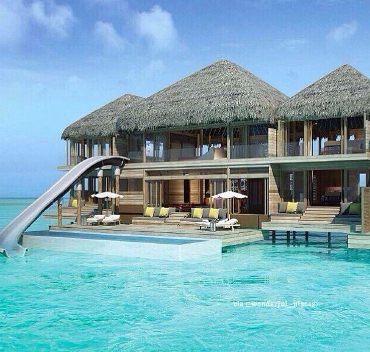Villa sur la mer avec glissade aux les maldives loi d - Maison sur pilotis maldives ...