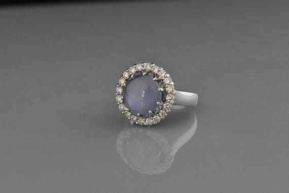 18K White Gold Natural Star Sapphire and Diamond Ring  Unique