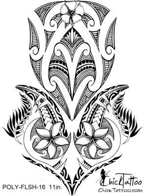 ChickTattoo.. Polynesian Flower Tattoo Flash Design