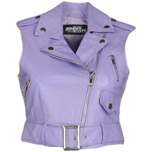 Jeremy Scott Jacket ($199) ❤ liked on Polyvore featuring outerwear, jackets, light purple, biker jackets, purple jacket, lapel jacket, purple biker jacket and collar jacket