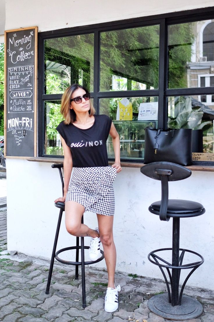 Gingham skirt with adidas superstar sneakers outfit with prada sunglasses and saint Laurent tote #chandrasakhrani
