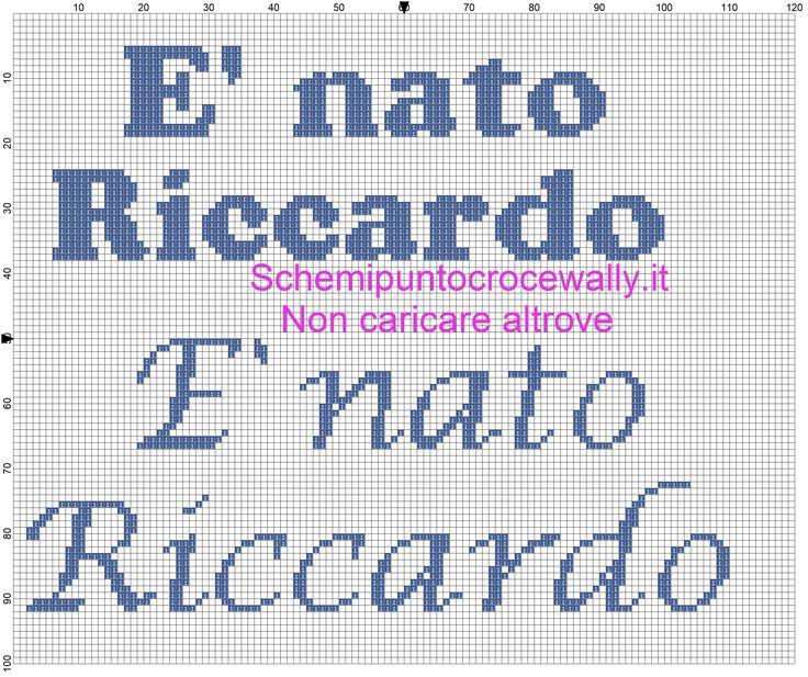 Schema punto croce è nato Riccardo per fiocco nascita.jpg (2606×2186)