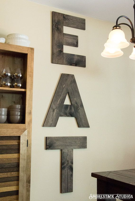 Large eat sign wood 24 tall letters by for Kitchen letters decoration