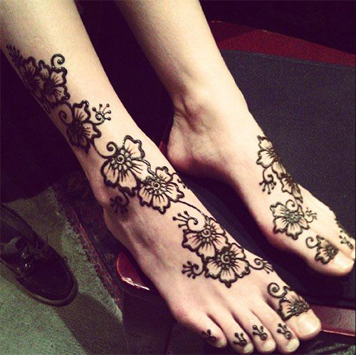 Floral Henna Design for Foot #henna #mehndi