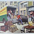 DEMENAGEMENT / MARECHAL FERRANT    Editions ROSSIGNOL - Montmorillon (Vienne).Ancienne affiche scolaire....