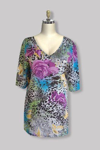 Plus Size Clothing 3/4 Sleeve Cotton V-neck w/ Color