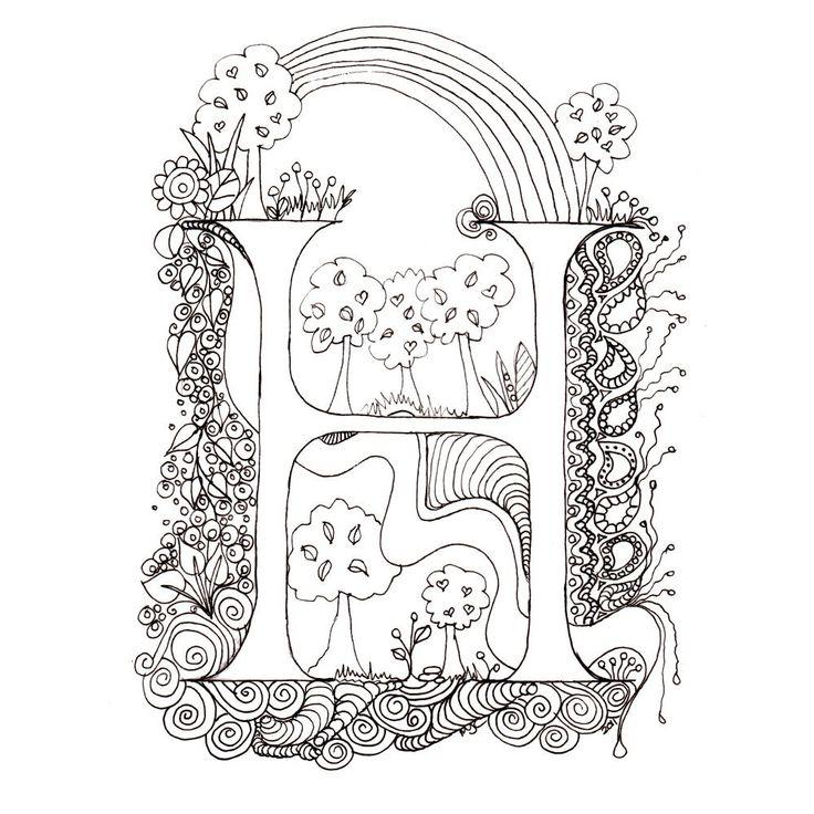 Printable Illuminated Letters | Monogram, Initial, Colour-Me-In Illuminated Letters - H, original art ...