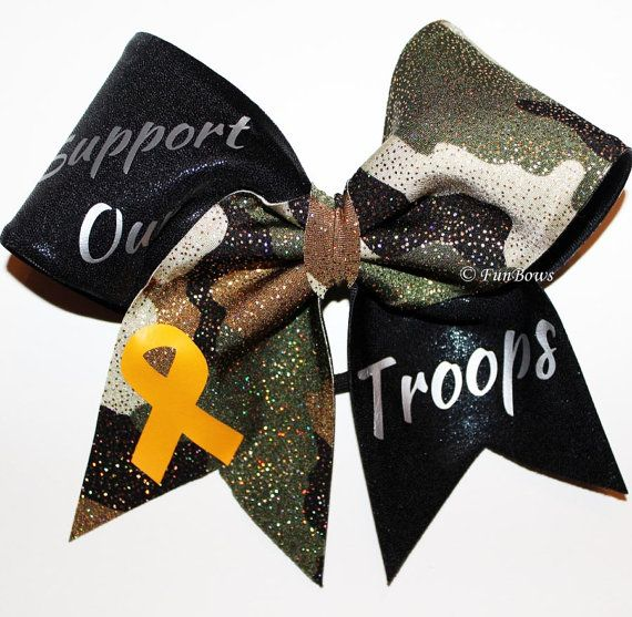 Support Our Troops, Allstar sized Cheerleading Hairbow - by Funbows