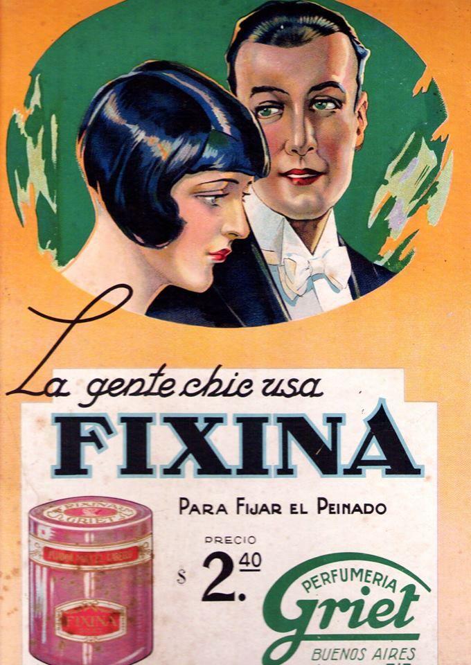 Fijador para el cabello FIXINA, década del 20.