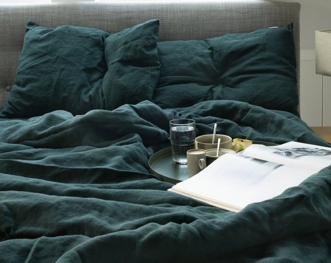 Linen Duvet Cover In Sea Blue Dark Teal Color Washed Soft Natural 100 Flax Queen King Full Comforter Cover Blue Bedding Linen Duvet Covers Bed Linen Sets Green Duvet Covers