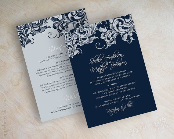 Wedding invitations, victorian filigree pattern design wedding stationery in navy blue, silver and white, Jora. By appleberryink, $1.00