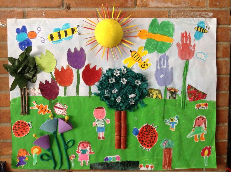 Mural primavera alumnos de cinco a os colegio nuestra for Mural nuestra carne