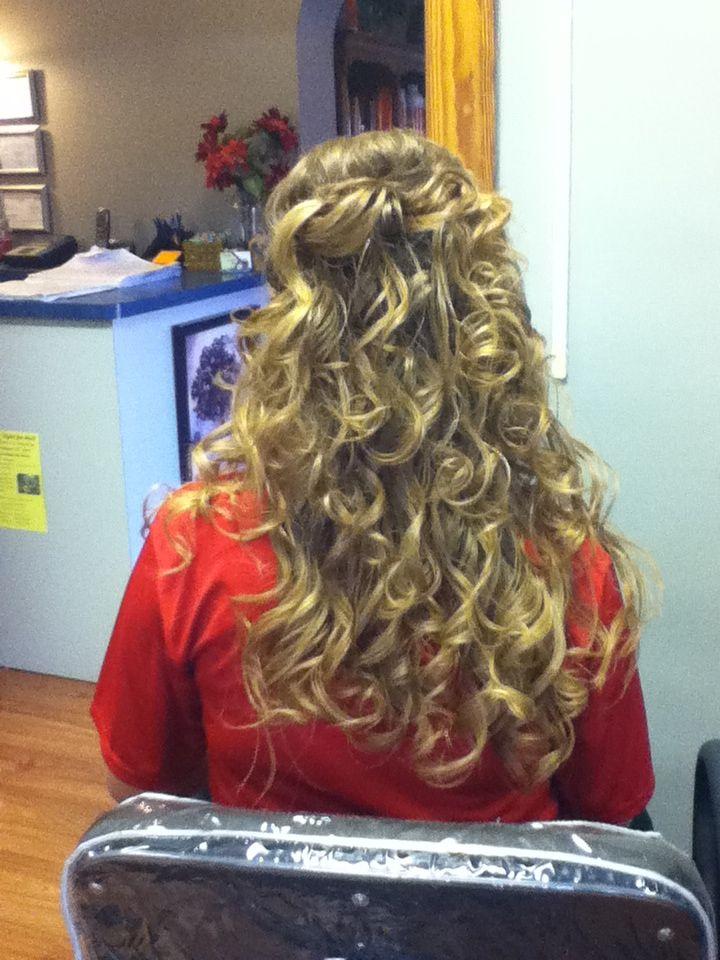 Long curly wedding hair