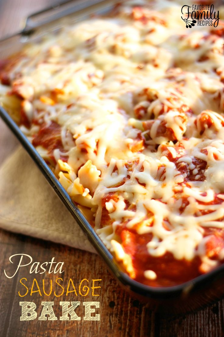 This Pasta Sausage Bake is easy to throw together for a hearty, satisfying meal. Serve it with steamed broccoli or a green salad for a festive dinner!