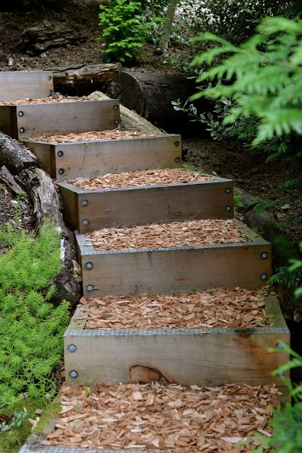 wooden box steps around curve - great idea I surely can use this on our land. I live on a hill and have hills surrounding me and this would solve the problem. Thanks for sharing. :)