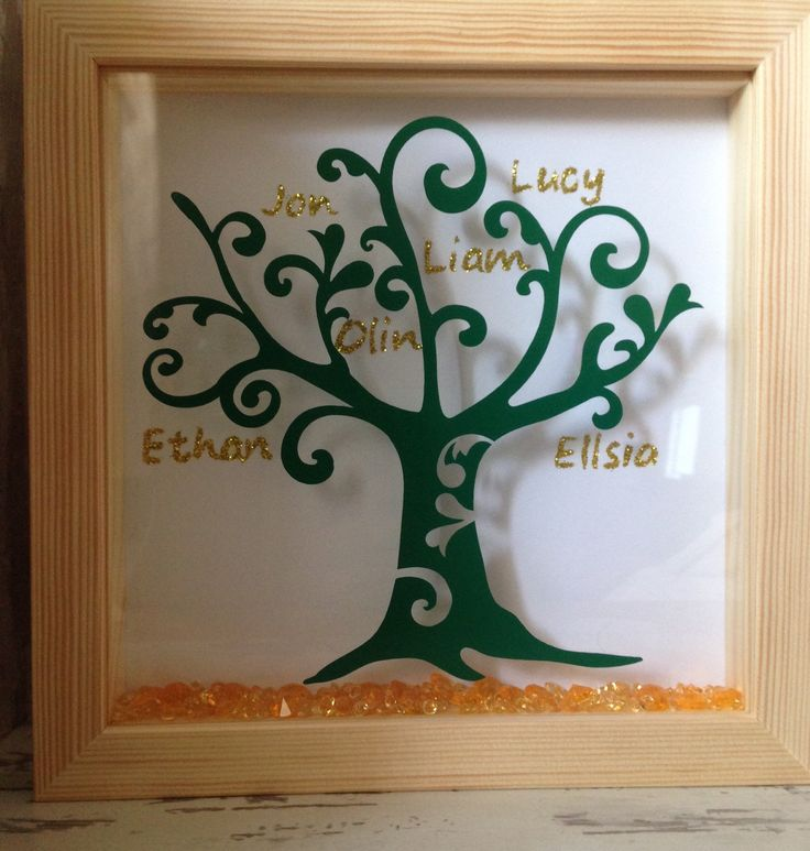 Wall art ~ personalised Family Tree framed in a shadow box ~ gold glitter ~ choose own words and colours ~ home decoration by FunkyDesignsbyDi on Etsy