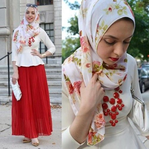red maxi skirrt with white blouse hijab,
