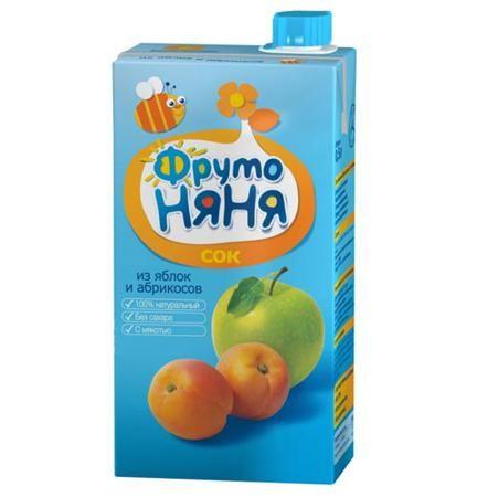 ФрутоНяня Сок из яблок и абрикосов с 3 лет, 500 мл (тетра пак)  — 50р.   ФрутоНяня Сок из яблок и абрикосов с 3 лет, 500 мл (тетра пак)  Яблоко содержит огромное полезных веществ, прежде всего витамина С и пектинов. Усиливает кроветворение, выводит камни из почек, очищает организм от токсинов, снижает уровень холестерина в крови, регулирует углеводный обмен, восстанавливает кишечную флору.   Абрикос являющийся прекрасным источником калия, каротина, витамина С, клетчатки и пектина. Абрикосы…