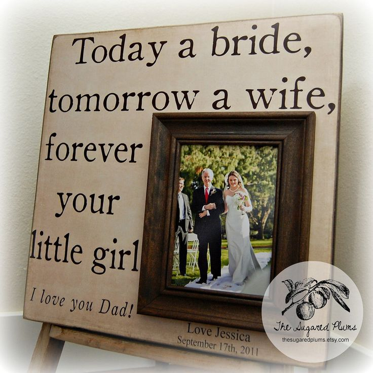 Father of the Bride Gift, Father of Bride, Parents Thank You, Parents Wedding Gift, TODAY A BRIDE, Personalized Picture Frame 16x16. $75.00, via Etsy.